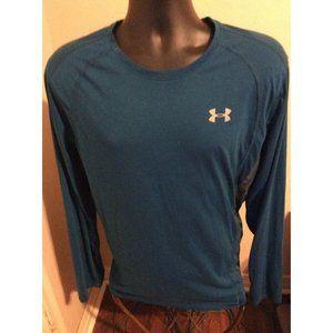 Under Armour Run Fitted Shirt 2XL Blue Heat Gear Long Sleeve Training Gym Shirt